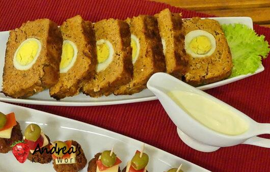 Stefania meatloaf stuffed with hard boiled eggs without bread