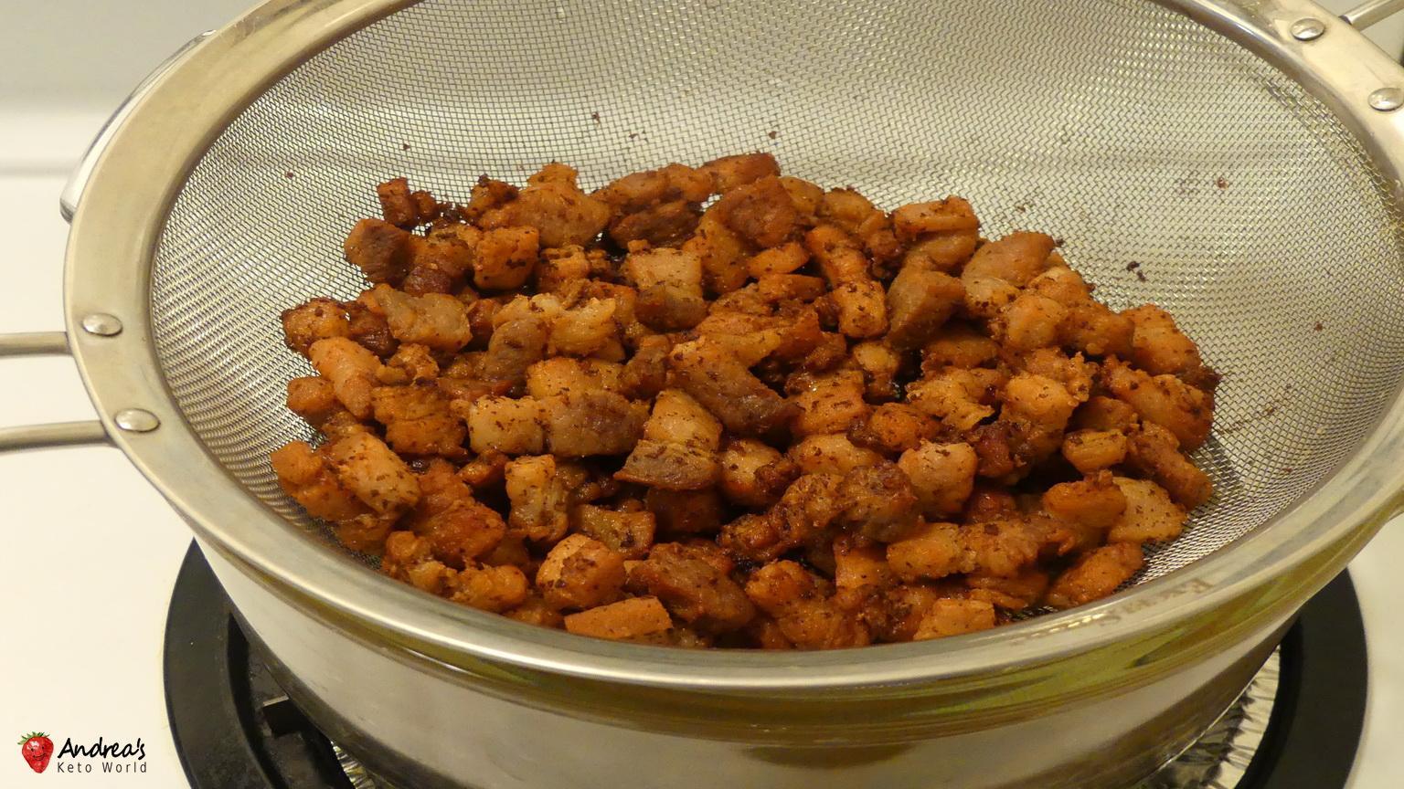 Homemade Keto Snack of Crispy Pork Crackling Bites