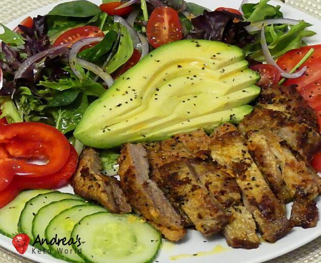 Mustard Pork Shoulder Steak with Green Salad
