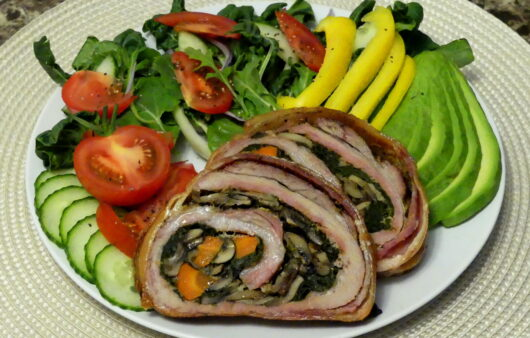 Pork Belly Roll Stuffed with Spinach & Mushrooms - Low-carb, Keto, Paleo